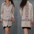 Бесплатная доставка джинсовые пальто старинные вышивка пальто для женщин национальная тенденция с отложным воротником китайский стиль Большой размер XL