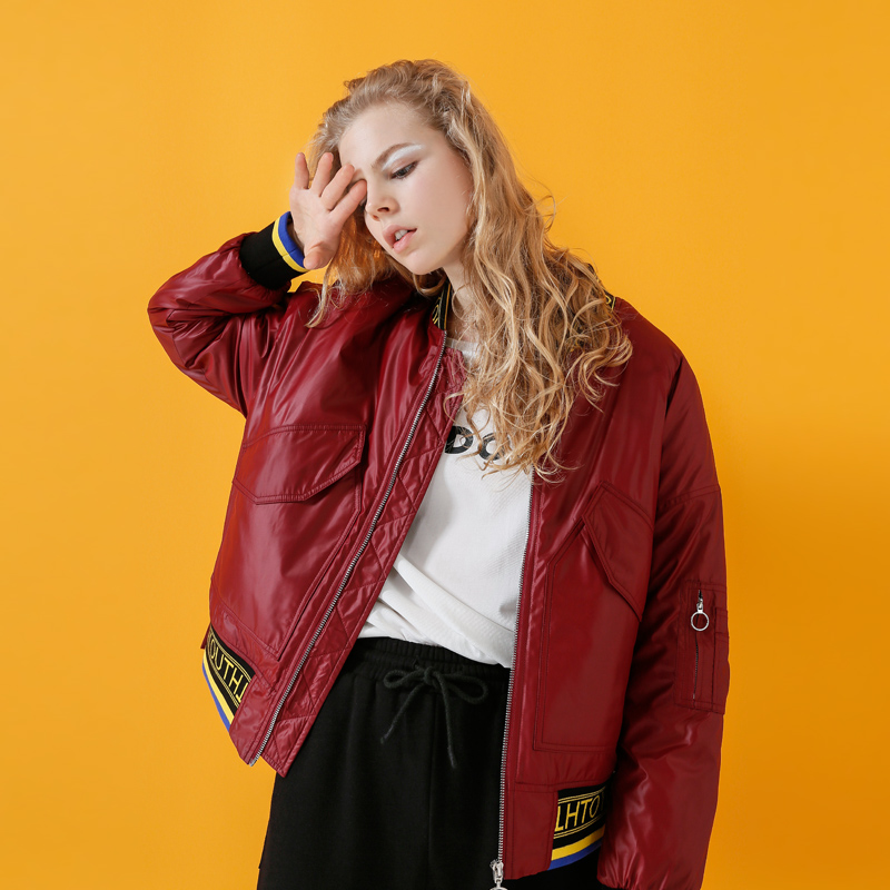 Toyouth 스탠드 칼라 컬러 블록 트림 streetwear 야구 자켓 가을 여성 자켓 및 코트 지퍼 코튼 패딩 자켓-에서베이식 쟈켓부터 여성 의류 의  그룹 3