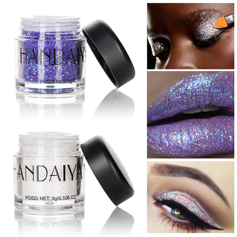 Eye Shadow Qibest 30 Color Glitter Powder Eyeshadow Cosmetics Colorful Party Makeup Sexy Lips Eye Loose Metal Eye Shadow Blue Silver