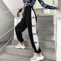 Spring Casual Harajuku Pants Women High Waist Trousers Women Elastic Wiast Hip Hop Letters Black Sweatpants