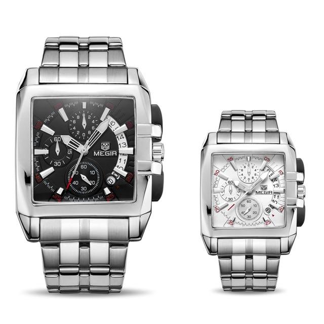 Megir business men quartz watches fashion brand chronograph wristwatch for man steel band for male with calendar 2018  new