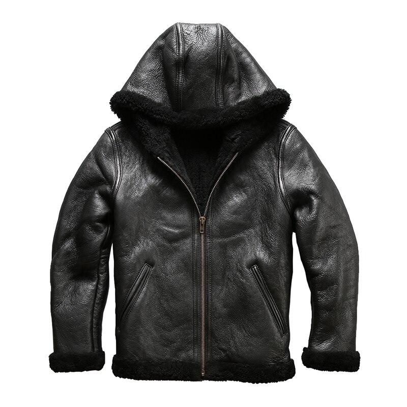 8009 formato europeo di alta qualità super caldo genuino giacca di pelle di pecora mens big size B3 shearling bomber militare giacca di pelliccia