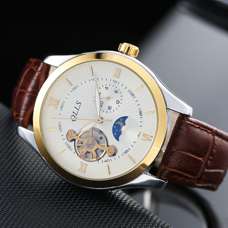 QLLS Luxury Automatic Mechanical Men Watch Fashion Brand Skeleton Tourbillon Leather Watches Gold Relogio Masculino horloges mannen qlls mens watches top brand luxury automatic mechanical watch men clock skeleton wristwatch relogio masculino