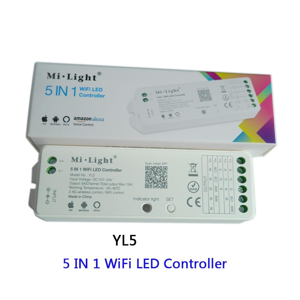 Miboxer YL5 2.4G 15A 5 EM 1 Wi-fi LEVOU Controlador De cor Única, CCT, RGB, RGBW, RGB + CCT Led Strip, Apoio Amazon Alexa Voz