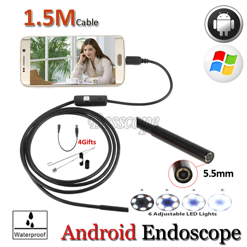 OTG USB Endoscope Android Phone USB Camera 5.5mm Len Pipe inspection IP67 Waterproof Snake Repair USB Review Endoscope headset bullet usb otg compatible android smartphones digital camera
