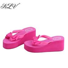 KLV/женская летняя обувь на платформе Вьетнамки стринги клин пляжные сандалии узел обувь с бантом Вьетнамки Женские размер 35-39