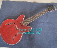 new arrived music instrument hollow F hole 8 strings electric guitar in red without hardware F 3053