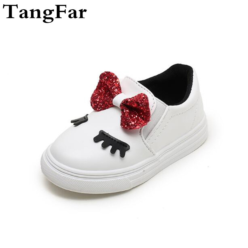 Hot Sale Childrens Shoes Bow PU Leather Kids Sneakers Popular Cute Baby Causal Sport Shoes Princess Girls Footwear