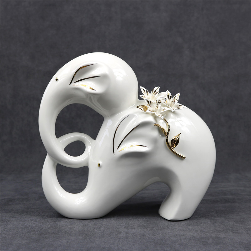Porcelaine mère et bébé éléphant Figurine fait main céramique Statue éléphant ornement décor maison artisanat cadeau pour la fête des mères