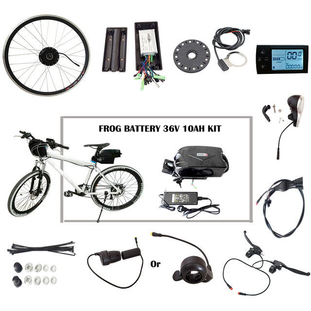 Cheap JS 350W 36V 10AH Battery LCD Display Whole Electric Bike Conversion Kit Brushless No-gear Hub Motor Throttle Refit Cycling Kit