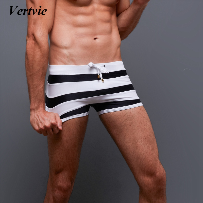 Vertvie Drawstring Men Swimming   Shorts   New Breathable Hit   Board     Short   Pants Striped Swimming Bathing Trouser Beach Trunks