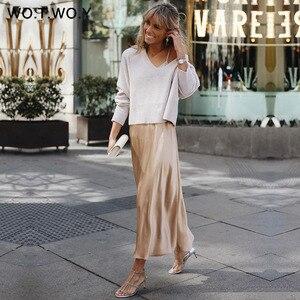 Image 2 - WOTWOY 2019 แนวโน้มร้อนซาตินกระโปรงผู้หญิงสูงเอว Zipper Slim หลวม A Line กระโปรง Lady Pink Blue Streetwear กระโปรง