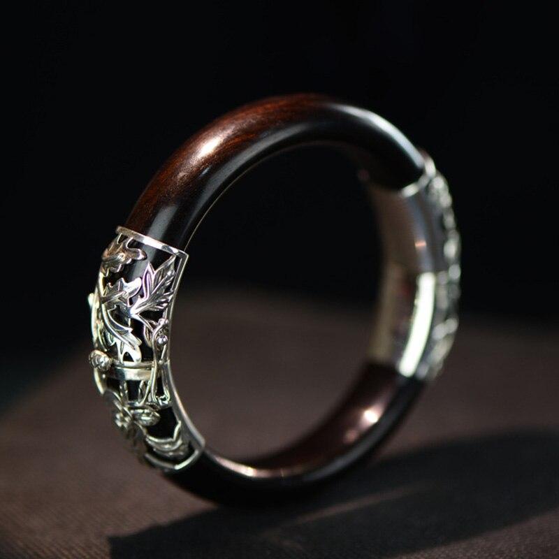 Bracelets en bois de SilverSandalwood 925 Sterling garantis pour les femmes délicat éthique Vintage bijoux fins Bracelet Manchette Argent