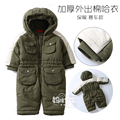 High Quality New 2016 autumn winter Baby Rompers Boys Outerwear  Kids Jumpsuit Baby Clothes Newborn Romper Hooded Infant Clothes