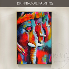 New Art Artist Handmade High Quality Colorful Ganesh Oil Painting Rich Colors Animal Special Abstract