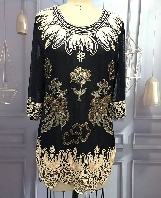 Dropwow Large Size Luxury Women Dinner Party Blouse Top Loose O-Neck ... 0e80615a2290
