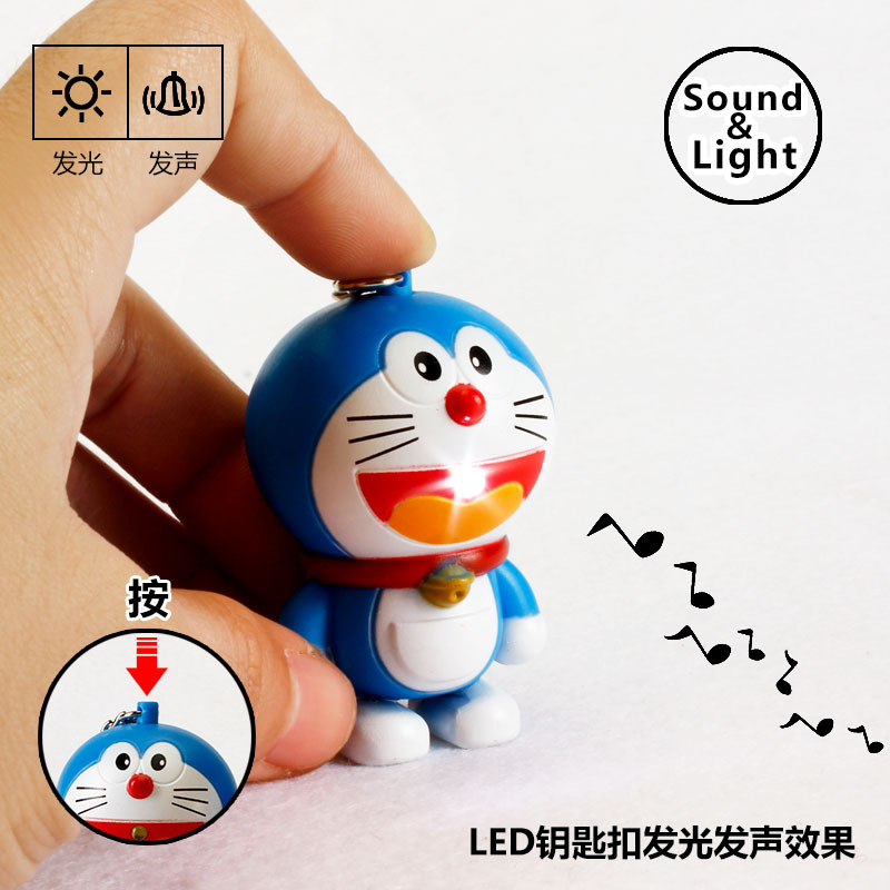 Hot Sale New 2018 Novelty Toys Cartoon Anime Doraemon Figures LED Keychains Doraemon Toys Lighting Sounds Creative Gifts
