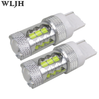 WLJH 2x 80w 1200lm 12v 24v T20 7440 W21W LED Car Auto DRL Day Running Light