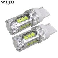 WLJH 2x 80w 1200lm 12v 24v T20 7440 W21W LED Car Auto DRL Day Running Light