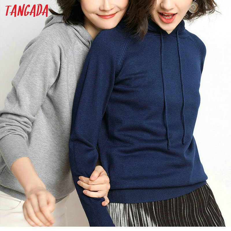 Tangada fashion woman solid hooded sweater female long sleeve korean chic soft jumpers sweater ladies pull