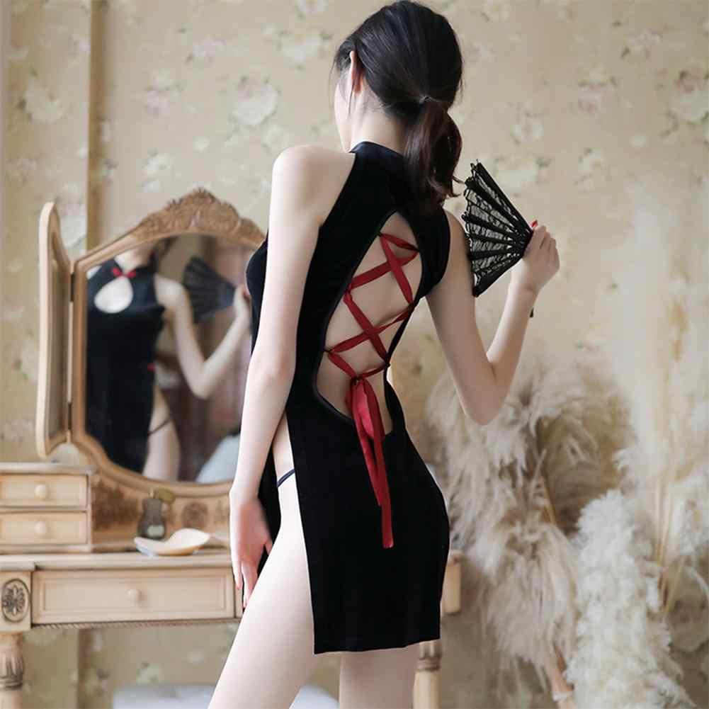 Китайское платье бархатное Cheongsam Qi Pao нижнее белье сексуальное горячее эротичное женское белье велюровое платье выдалбливают Babydoll вечерние платья