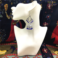India Antique Silver Plating Birdcage Earrings Long Prismatic Earbob Indian Egyptian Gypsy Middle East Jewelry Limited