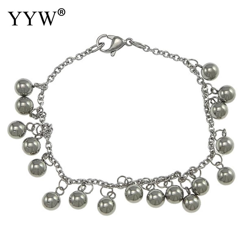 YYW New Arrival Stainless Steel Round Ball Pendant Bracelet Women Silver Plated Oval Chain Charms Wristbands Accessories Jewelry