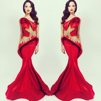 Mermaid Celebrity Dresses Beading Michael Costello Red Beading Fashionable Evening Gowns 2016 With Brush Trains