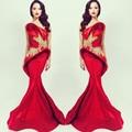 Sirena de La Celebridad Vestidos Rebordear Michael Costello Red Beads Nuevo 2017 con Cepillo Trenes Vestidos De Noche de Moda