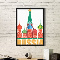 Landmark Global Travel Journey Russia Cathedral St Basil Plane Round Simple Picture Frame Art Prints Paintings Home Wall Decal