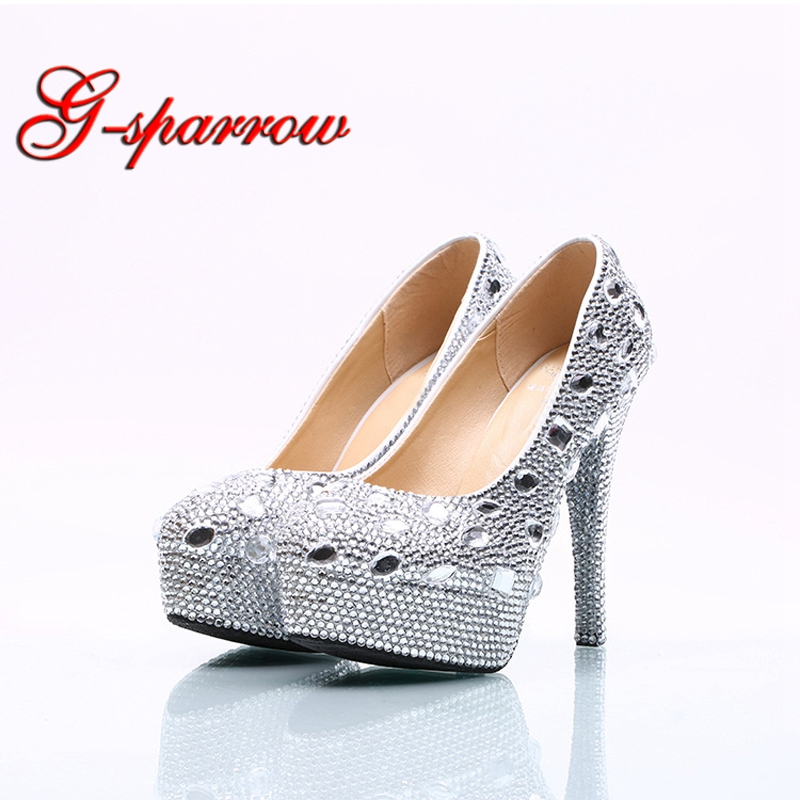 Rhinestone Wedding Shoes Silver Crystal Platform High Heel Women Shoes Wedding Dress Bridal Shoes Gorgeous Bridesmaid Pumps