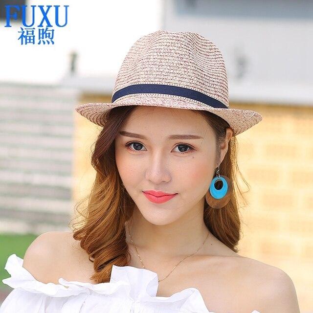10e76388b2f summer new Fashion Casual sea beach hat Lovely small brim tourism hat girls  lady fedoras sunscreen Straw hat sun cap women