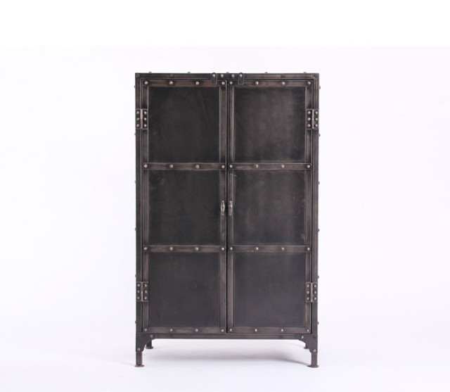 Charmant European And American Retro Style Wrought Iron Rivets Metal Cargo Storage  Lockers Corner Cabinet With Door