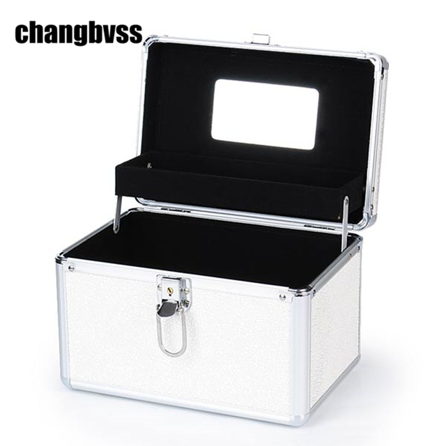 White Double Layer Portable Cosmetic Make Up Storage Box Women Jewelry Box  Container Large Capacity Makeup