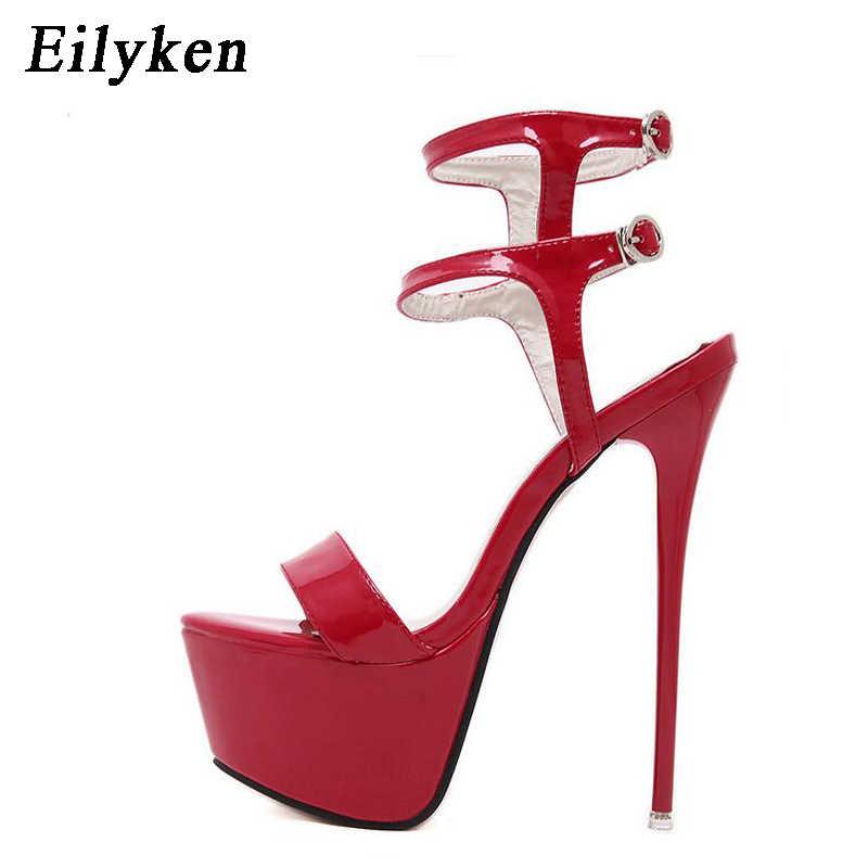 Eilyken Platformu Yaz Sandalet Stil Seksi 16 cm Kadın Sandalet yüksek topuklu Burnu açık Toka Gece Kulübü Ayakkabı Siyah Büyük Boy 34-46