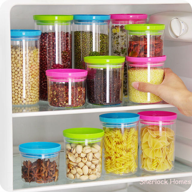 New Multifunction Transpa Cans Set Sealed Crisper Plastic Moistureproof Square Food Storage Bo Kitchen Containers Kit