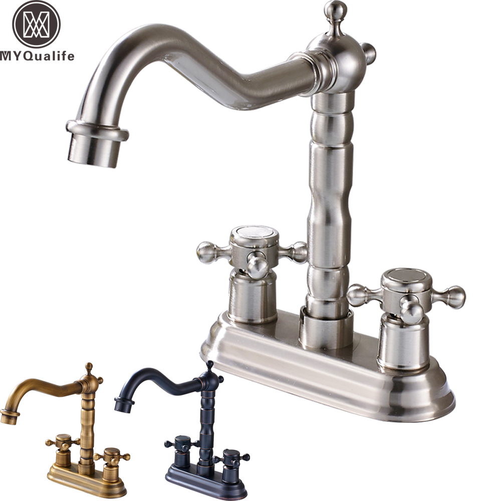 Deck Mounted Dual Handle Two Holes Bathroom Faucet Brass Swive Long Spout Basin Sink Mixer TapsDeck Mounted Dual Handle Two Holes Bathroom Faucet Brass Swive Long Spout Basin Sink Mixer Taps
