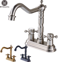 Deck Mounted Dual Handle Two Holes Bathroom Faucet Brass Swive Long Spout Basin Sink Mixer Taps