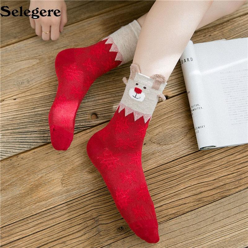 36Pair/lot 2018 Autumn and winter new Christmas stocks cartoon elk cute women's red socks Good quality