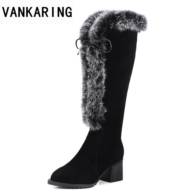 цена VANKARING women boots new 2018 autumn winter genuine leather sexy high  heels pointed toe black fad8dbf160b