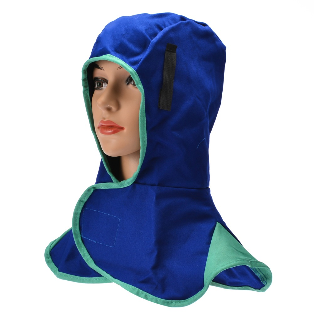 Blue Washable Flame Retardant Helmet Comfort Welding Neck Face Protection Hood Mayitr Practical Welder Head Cap Cover 410mm