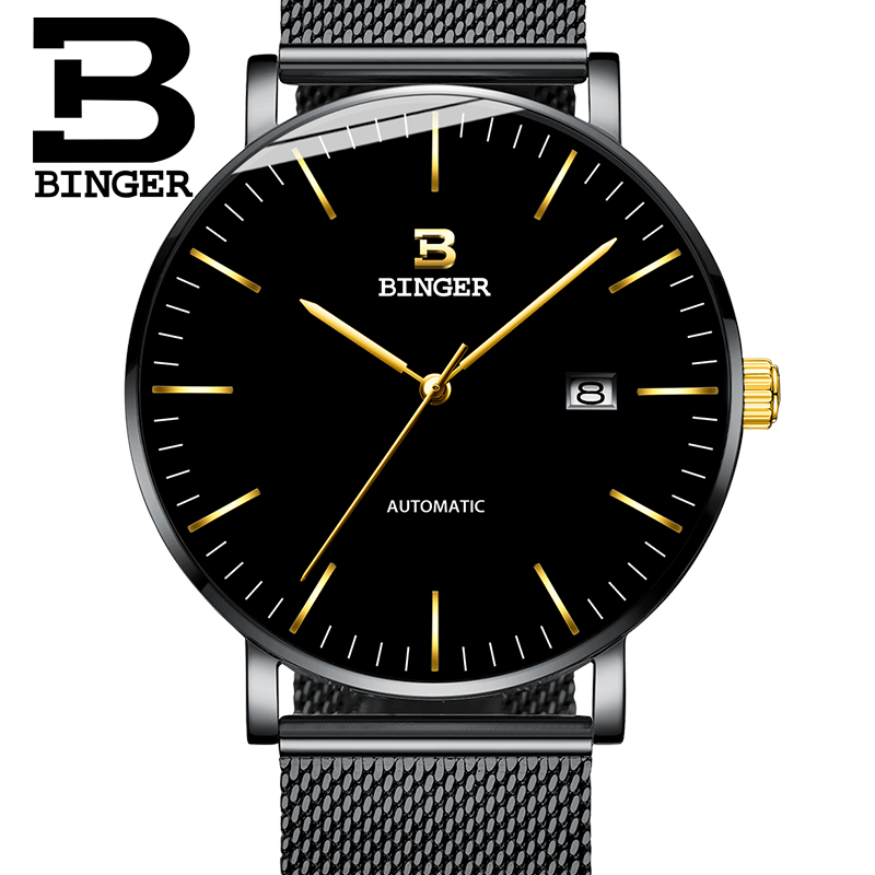 2019 Genuine Luxury BINGER Brand Men full steel automatic mechanical male self-wind calendar simple waterproof ultrathin watch