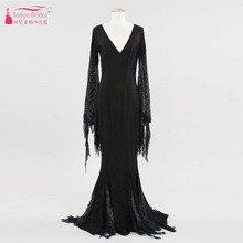 Schwarz Langarm V-ausschnitt Abendkleid Meerjungfrau Spitze Besondere Anlässe Halloween Kleid robe de soiree vestidos de festa Z133