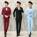 (3 pieces/set) 9 Colors Men Suit Wedding Costume Solid Blazer Vest Trousers Dress Slim Fit Men's Clothes Casual Business Suits