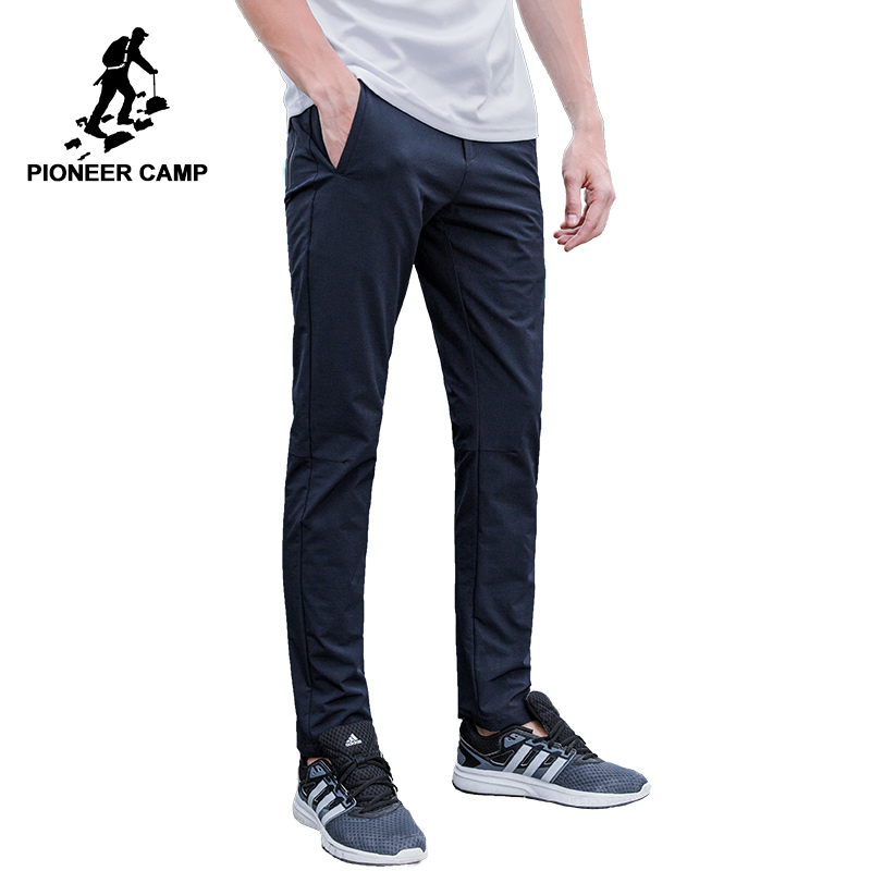 Pioneer Camp imperméable casual pantalon hommes marque-vêtements simple solide pantalon mâle qualité stretch slim fit pantalon AXX701153