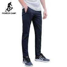 Pioneer camp novo à prova dwaterproof água calças casuais dos homens marca roupas simples calças sólidas masculino qualidade estiramento magro calças ajuste axx701153