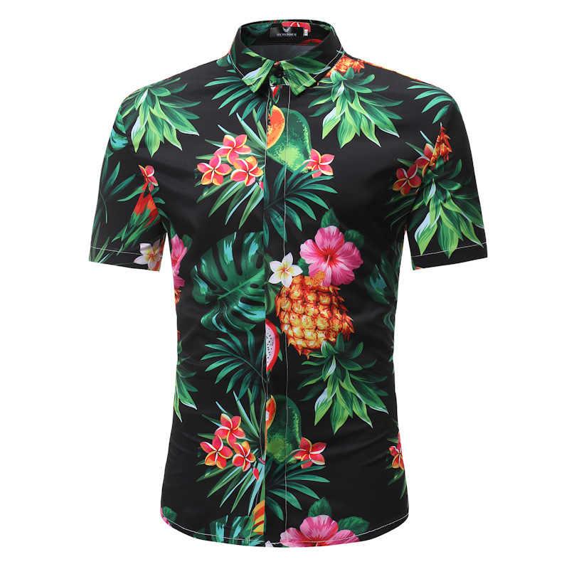 Jetoo Новое поступление мужская гавайская рубашка 2019 мужской Повседневное цветочный пляжное платье с принтом рубашки короткий рукав бренд Для мужчин Костюмы 3XL