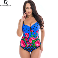 Plus Size Swimwear Women Sexy One Piece Swimsuit Floral Print Large Cup Push Up Bathing Suit
