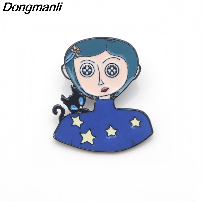 P3189 Dongmanli Cute Coraline Metal Enamel Pins and Brooches for Women Men  Lapel pin backpack badge Kids for Gifts