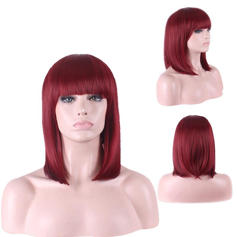 Fashion Cheap Auburn Short Bob Wig Cosplay Costume Synthetic Hair Halloween Woman Wigs Free Shipping